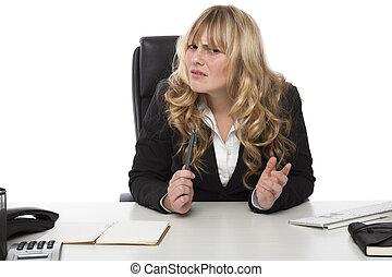 femme affaires, expression, railleur