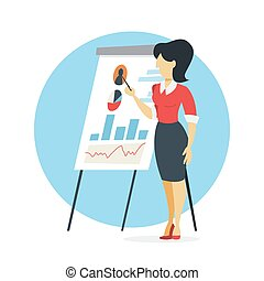 femme affaires, faire, présentation, diagramme, graphique