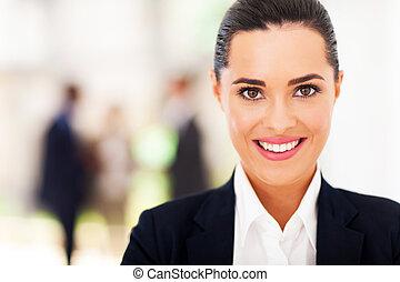 femme affaires, figure, closeup