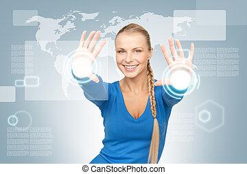 femme affaires cran toucher virtuel image femme affaires cran virtuel toucher s duisant. Black Bedroom Furniture Sets. Home Design Ideas