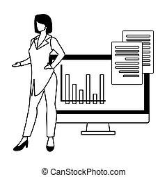 femme affaires, fond, écran ordinateur, blanc