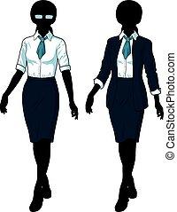 femme affaires, formel, silhouette, usure, élégant