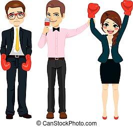 femme affaires, gagnant, combat