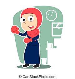 femme affaires, gants boxe, arabe, usure