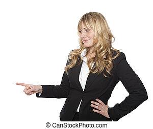 femme affaires, gauche, pointage, sourire