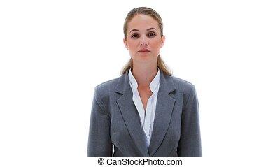 femme affaires, gesticulation