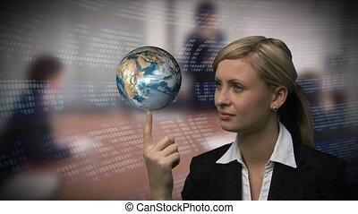 femme affaires, globe, main
