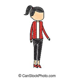 femme affaires, gribouiller, avatar, dessin animé