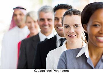 femme affaires, groupe, professionnels