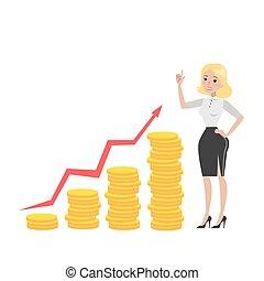 femme affaires, growth., argent