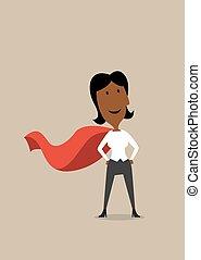 femme affaires, héros, dessin animé, cap rouge