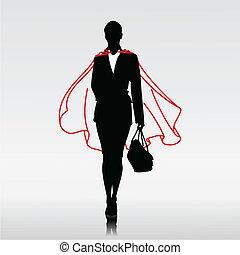 femme affaires, héros