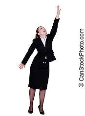 femme affaires, haut, atteindre
