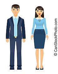 femme affaires, homme affaires, collection, porter, tissu, dessin animé, bureau, ensemble, icônes, ouvriers