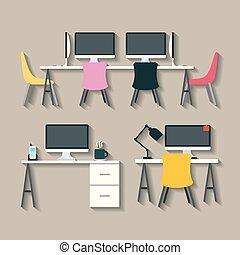 femme affaires, homme affaires, illustration, bureau