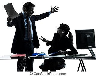 femme affaires, homme, couple, conflit, conflit, silhouette