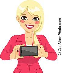 femme affaires, horizontal, smartphone, afficher