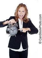 femme affaires, horloge