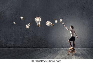femme affaires, idée, atteindre