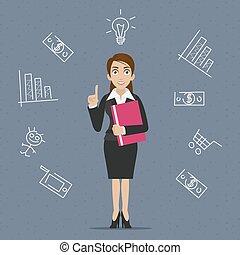 femme affaires, idée, business