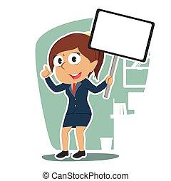 femme affaires, indien, planche, tenue, signe