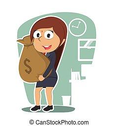 femme affaires, indien, tenue, sac, argent