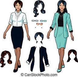 femme affaires, indonésien, usage formel, élégant