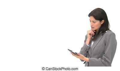 femme affaires, informatique, tablette, utilisation