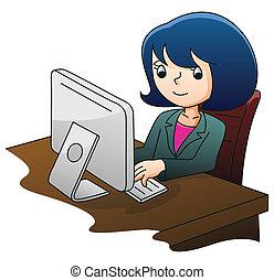 femme affaires, informatique