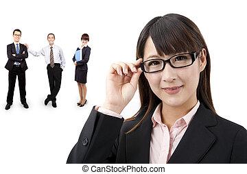 femme affaires, intelligent, equipe affaires