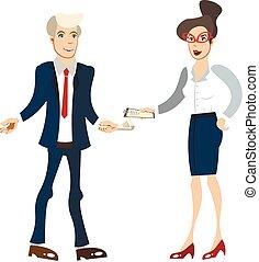 femme affaires, isolé, homme affaires