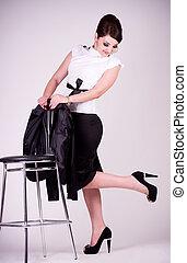 femme affaires, jeune, isolé