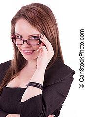 femme affaires, jeune, lunettes