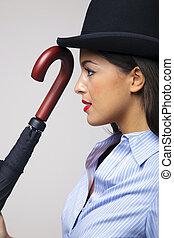 femme affaires, joueur boules, umbrella., chapeau