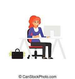femme affaires, lieu travail, elle