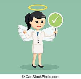 femme affaires, liste contrôle, ange, signe