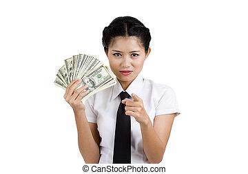 femme affaires, lot, argent