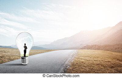 femme affaires, lumière, intérieur, ampoule