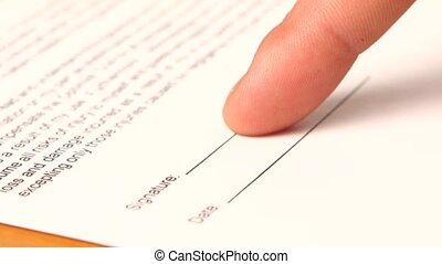 femme affaires, main, contrat, signes
