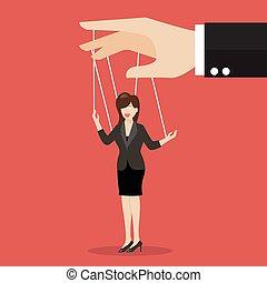 femme affaires, marionnette, sur, cordes