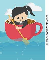 femme affaires, mer, vaste, tasse, aviron, café