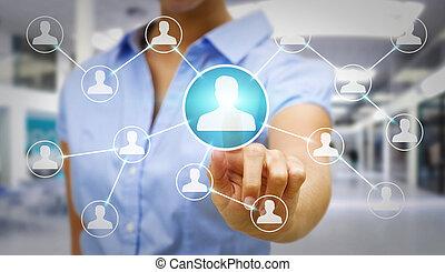 femme affaires, moderne, réseau, utilisation, social