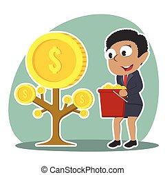 femme affaires, monnaie, arbre, africaine, récolte