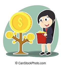 femme affaires, monnaie, arbre, récolte