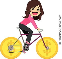 femme affaires, monnaie, vélo
