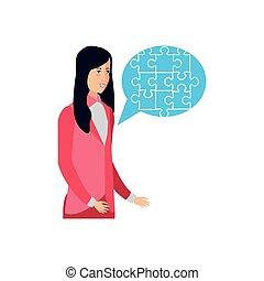 femme affaires, morceaux puzzle, forme, bulle discours
