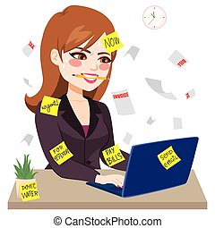 femme affaires, mordre, fonctionnement dur, crayon