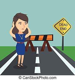 femme affaires, mort, signe, regarder, route, end.