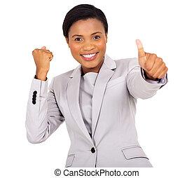 femme affaires, noir, pouce haut