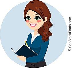 femme affaires, note écriture
